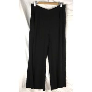 Eileen Fisher wide leg pants black silk pleated